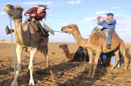 Image of the Grueners riding camels
